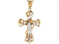 Colgante Diamantado Crucifijo Cruz Con Circonita Religioso En Oro De 2 Tonos (OM#3142)