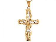 Colgante Diamantado Crucifijo Cruz Con Circonita Religioso En Oro De 2 Tonos (OM#3148)