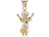 Colgante De El Nino Divino Bebe Jesus En Oro Blanco Y Amarillo De 10k (OM#3277)
