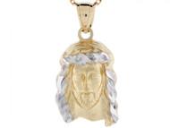 Colgante Religioso De Cara De Jesus De Tamano Pequeno En Oro De Dos Tonos De 10k (OM#3278)