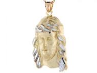 Colgante Religioso De Cara De Jesus De Tamano Grande En Oro De Dos Tonos De 10k (OM#3280)