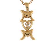 Colgante Con Palabra Mom Mama Con Diamante Real En Oro Amarillo De (OM#3307)