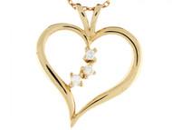 Colgante De Lujo De Corazon Con Tres Diamantes Reales De 0.075cttw En Oro De 14k (OM#3400)