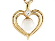Colgante De Corazon Con Perla De Agua Dulce Y Diamante De 0.03cttw En Oro 14k (OM#3405)