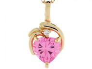 Colgante Con Gema De Octubre Circonita Rosada Y Diamante 0.025cttw En Oro De 14k (OM#3408)