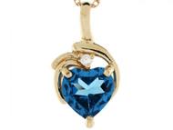 Colgante Con Circon Azul Simulado De Diciembre Y Diamante 0.025cttw En Oro 14k (OM#3408)