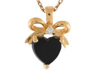 Colgante De Corazon Y Mono Con Onice Y Diamante Real En Oro Amarillo De (OM#3409)