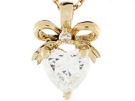 Colgante De Corazon Con Gema De Abril Circonita Y Diamante 0.025cttw En Oro 14k (OM#3409)