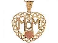 Colgante Para Mama Con Acento De Rosa En Oro De Dos Tonos De (OM#3619)