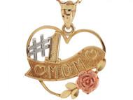 Colgante Bonito #1 Mom En Oro Multi-tono Amarillo Blanco Y Rosa De (OM#3622)