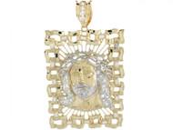 Colgante Diamantado Cuadrado Grande De Jesus Con Circonita En Oro 2 Tonos (OM#3739)