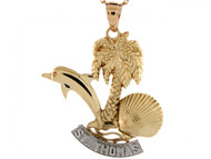Colgante Lindo De Concha De Mar Delfin Palmera Y San Tomas En Oro De 2 Tonos (OM#3949)
