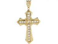 Colgante Cristano De Cruz Con Circonita Blanca En Oro Blanco Y Amarillo Real (OM#3957)