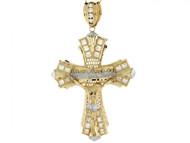 Colgante De Crucifijo Con Ultima Cena Y Circonita En Oro De 2 Tonos (OM#3966)