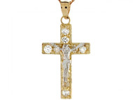 Colgante Brillant De Crucifijo Con Jesus Con Circonita En Oro De Dos Tonos (OM#3969)