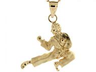 Dije Colgante De Deporte Hombre Practicando Karate Judo En Oro Amarillo De (OM#3982)