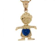 Dije Colgante Natal Septiembre Con Zafiro Simulado Figura De Nino En Oro (OM#3984)