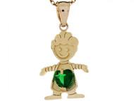 Dije Colgante Natal De Mayo Con Esmeralda Simulada Figura De Nino En Oro De (OM#3984)