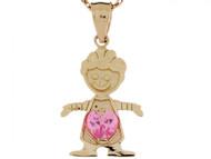 Dije Colgante Natal De Octubre Con Circonita Rosada Figura De Nino En Oro De (OM#3984)