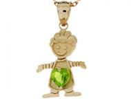Dije Colgante Natal De Agosto Con Peridoto Simulado Figura De Nino En Oro (OM#3984)