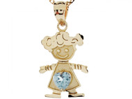 Dije Colgante Natal De Marzo Con Aguamarina Simulada Figura De Nina En Oro (OM#3985)