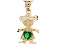 Dije Colgante Natal De Mayo Con Esmeralda Simulada Figura De Nina En Oro De (OM#3985)