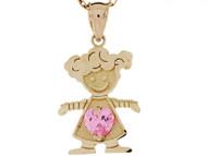 Dije Colgante Natal De Octubre Con Circonita Rosada Figura De Nina En Oro De (OM#3985)