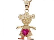 Dije Colgante Natal De Julio Con Rubi Simulado Figura De Nina En Oro De (OM#3985)