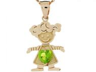 Dije Colgante Natal De Agosto Con Peridoto Simulado Figura De Nina En Oro (OM#3985)