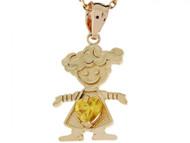Dije Colgante Natal Noviembre Con Circonita Amarilla Figura De Nina En Oro (OM#3985)