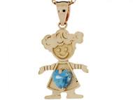Dije Colgante Natal Diciembre Circon Azul Simulado Figura De Nina En Oro (OM#3985)