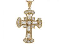 Colgante De 4.1cm Cruz Celtica Con Acentos De Circonita Brillante En Oro De (OM#3990)