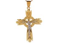 Colgante Moderno Religioso De Crucifijo Celtico Diamantado En Oro De 2 Tonos (OM#4082)