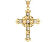 Colgante De 4.6cm De Cruz Celtica Brillante Con Circonita En Oro Amarillo De (OM#4107)
