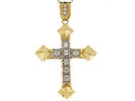 Colgante De 5cm Cruz Llamativa Con Acentos De Circonita En Oro De Dos Tonos (OM#4135)