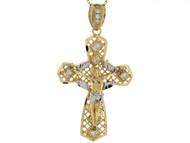 Colgante De 5.3cm Cruz Crucifijo Evuelto Con Filigrana En Oro De De Dos (OM#4141)