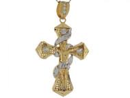 Colgante De 5.2cm Crucifijo De Lujo Envuelto Circonita En Oro De Dos Tonos (OM#4143)