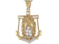 Colgante Diamantado De Ancla E Imagen De Virgen De Guadalupe En Oro De 2 Tonos (OM#4180)