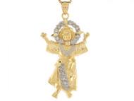 Colgante Pequeno 4.5cm X 2.4cm De Bebe Jesus Con Circonita En Oro De 2 Tonos (OM#4391)