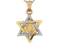 Dije Colgante De 2.3cm Estrella Judia De David En Oro Real De Dos Tonos (OM#4395)