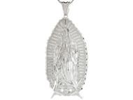 Colgante Enorme 11.85cm Diamantado De La Virgen Maria En Oracion En Plata .925 (OM#4402)