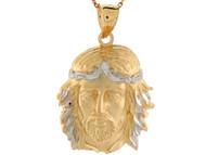 Colgante 3.7cm De Largo Religioso De Rostro De Jesus En Oro De Dos Tonos (OM#4409)