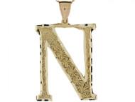 Colgante De Inicial Letra I Grande 4.14cm De Largo En Oro Real Amarillo De (OM#4515)