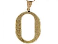 Colgante De Inicial Letra I Grande 4.14cm De Largo En Oro Real Amarillo De (OM#4516)