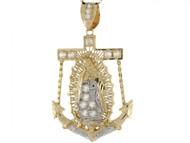 Colgante Diamantado 5.0cm De Ancla E Imagen De Virgen De Guadalupe En Oro De 2 Tonos (OM#5040)