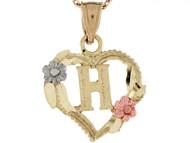 Colgante De Corazon Con Rosas Y Letra Inicial H En Oro Real De Tres Tonos De (OM#5208)