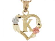 Colgante De Corazon Con Rosas Y Letra Inicial K En Oro Real De Tres Tonos De (OM#5211)
