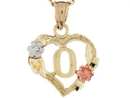 Colgante De Corazon Con Rosas Y Letra Inicial O En Oro Real De Tres Tonos De (OM#5215)