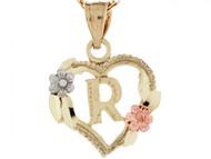 Colgante De Corazon Con Rosas Y Letra Inicial R En Oro Real De Tres Tonos De (OM#5217)