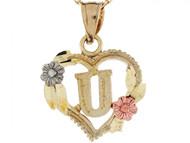Colgante De Corazon Con Rosas Y Letra Inicial U En Oro Real De Tres Tonos De (OM#5220)